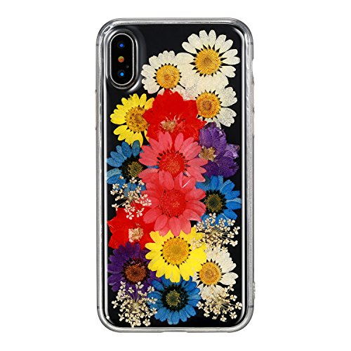 "Crosspace iPhone xr Case Clear with Flowers Floral Pattern Slim Shockproof Soft Flexible Handmade Fashion Cover Full Protective for Phone xr case 6.1"" [Colorful]"