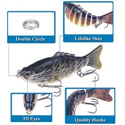 Fishing Lures Bass Lures Set,Topwater Whopper Plopper with Floating  Rotating Tail Barb Treble Hooks Multi Jointed Swimbaits Slow Sinking Hard  Lure