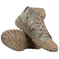 FREE SOLDIER Men's Tactical Boots Ankle Boots Lightweight Breathable Military Boots Strong Grip Camo Combat Boots for Work (Multi-camo, 10)