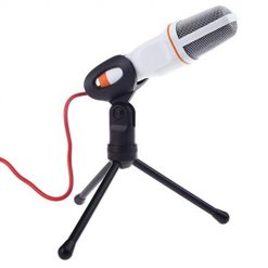 Fanala 3.5mm Audio Wired Stereo Condenser Microphone With Holder Stand Clip Vocal