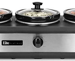 Elite Platinum EWMST-612 Triple Slow Cooker Buffet Server, Adjustable Temp  Dishwasher-Safe Oval Ceramic Pots, Lid Rests, 3 x 2 5Qt Capacity, 7 5 QT,