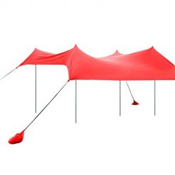 UHINOOS 9.8'x9.8' Family Beach Tent with 4 Sand Anchor Aluminum Poles, Sun shelter & Carring Bag UPF 50+ (Red)