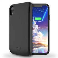 LCLEBM Battery Case for iPhone XR, 5000mAh Portable Charging Case Compatible with iPhone XR (6.1 inch) Protective Extended Rechargeable Battery Charger Case - Black