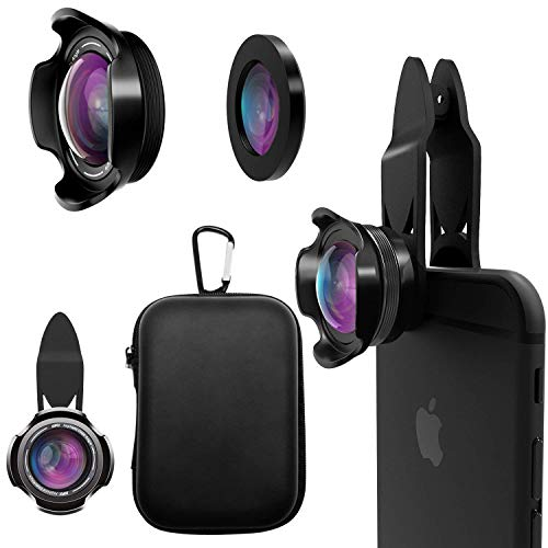 Cell Phone Camera Lens Kit - PINREK 4K HD 15X Macro 0.65X Wide Angle Phone Lens Kit with Travel Case, Compatible with iPhone X/XS/XR/8/7 Plus Samsung Pixel