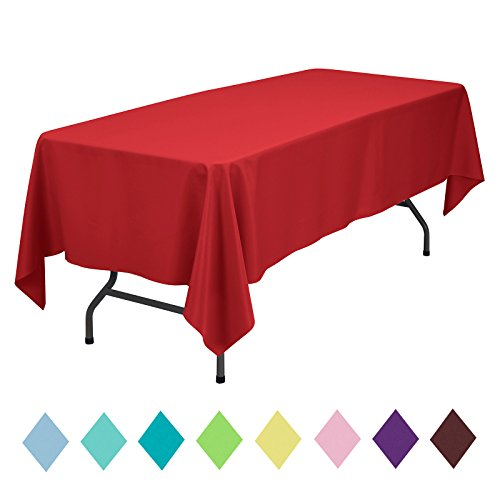 VEEYOO Rectangle Table Cloth Solid Color Polyester Tablecloth for Baby Shower Oblong Dinner Table Cover for Wedding Party Restaurant Outdoor Picnic (Red, 60x102 inch)