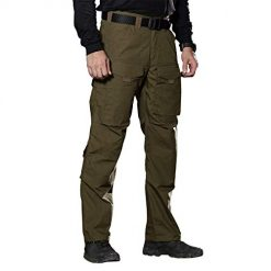 FREE SOLDIER Outdoor Men Teflon Scratch-Resistant Pants Four Seasons Hiking Climbing Tactical Trousers (Dark Green, 40W/32L)