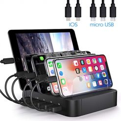 JZBRAIN Charging Station for Multiple Devices 5-Port Multi USB Charger for Cell Phone and Tablets (Black, 5 Short Cables Included)