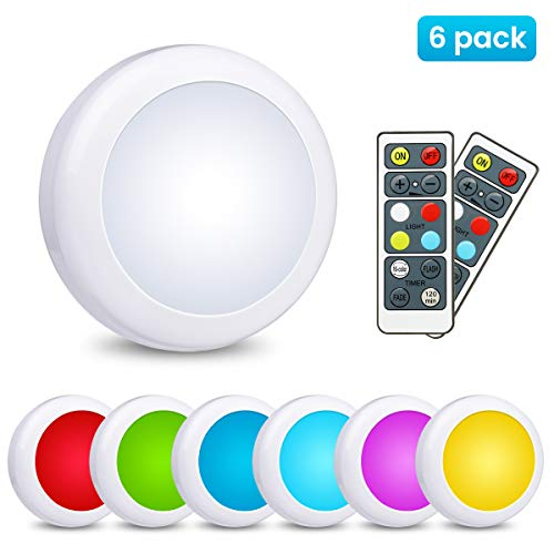 LED Under Cabinet Lighting Elfeland Closet Lights Wireless Color Changing LED Puck Lights 3 Modes RGB Under Counter Lighting with 2 Remote Controls Battery Powered Lights Stick On Lights (6 Pack)
