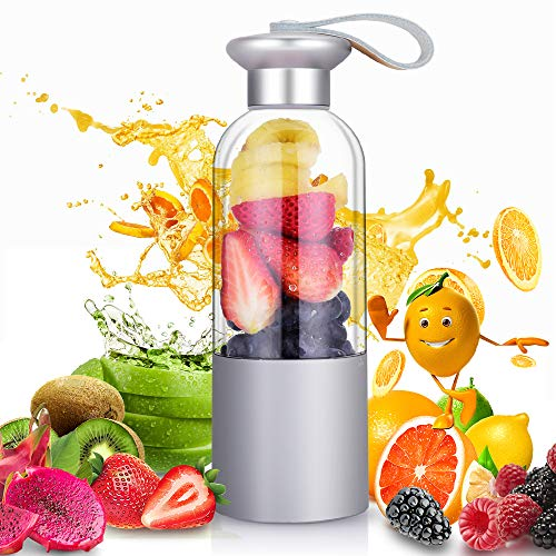 ROCK SPACE RST1025 Personal Portable Bottle for Shakes USB Rechargeable Smoothie Single Served Juicer, Mini Travel Blender, Small Size Easy to Carry Silver (FDA BPA free)