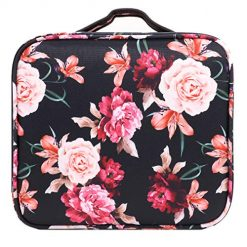 WAVEYU Makeup Bag Organizer,Travel Cases Cosmetic Flower Bag for Women Portable Toiletry Train Case with Adjustable Dividers Travel Accessories for Make Up Brushes Toiletry Jewelry, Black