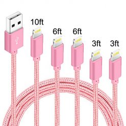 5 Pack (3ft,3ft,6ft,6ft,10ft) Nylon Braided Charging Cord Charger Compatible with PhoneX/8/8Plus 7/7 Plus/6s/6s Plus/6/6 Plus/5s/55se,Pad,Pod-Rose