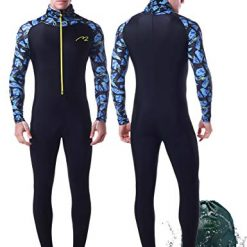 Wetsuit Full Suits for Women or Mens Modest Full Body Diving Suit & Breathable Sports Skins for Running Snorkeling Swimming 1009 (017-MAN, S)