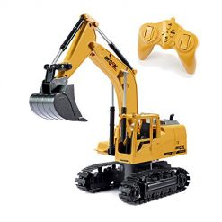 Tuko Remote Control Excavator Toy 1:24/2.4Ghz Diecast RC Engineering Construction Truck Toy for 6-14 Years Old Boys & Girls Gift