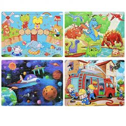 Wooden Jigsaw Puzzles Set for Kids Ages 4-8 Years Old 60 Pieces Preschool Educational Kids Floor Puzzle Toys - Kids Puzzles with 4 Themes