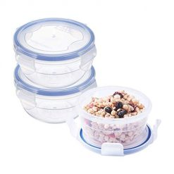 Baby Food Containers - Meal Prep Food Storage - 10.1oz Small Round Mixing Bowls with Airtight Snap Locking Lid - BPA-Free Plastic (Set of 3)