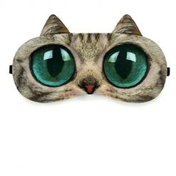 Zabrina Fuuny Creative Animated Cartoon 3D Cat Eyes Meow Sleep Mask Ice Pack Patch for Hot & Cold Therapy Light Shading Cover (brown)