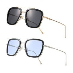 Retro Square Aviator Sunglasses for Men Women Classic Tony Stark Sunglasses Square Pilot Shades