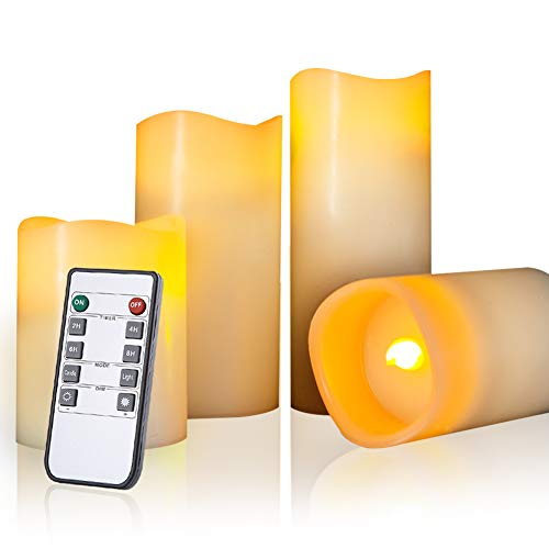 """Beichi Real Wax Flameless Candles, LED Candle Set of 4 (H 4"""" 5"""" 6"""" 7"""" x D 3""""), Ivory Battery Operated Pillar Candles with Remote Timer, Amber Yellow Flickering Flame"""