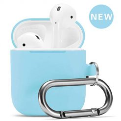 Airpods Case, Airpod Silicone Skin Cases Cover by Camyse, Full Protective Durable Shockproof Drop Proof with Keychain Compatible with Apple Airpods 2 & 1 Charging Case,Airpods Accesssories (Sky Blue)