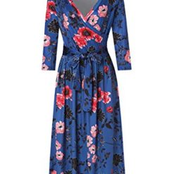 Hugo coffee Womens V Neck Long Sleeve Floral Printed Faux Wrap Long Maxi Dress with Belt (Small, Blue)