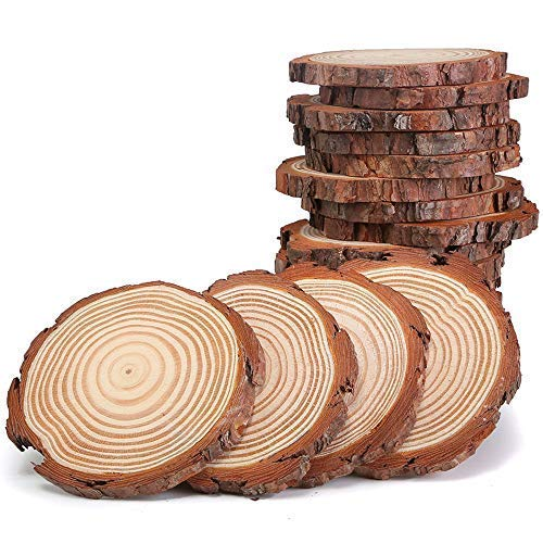 Unfinished Natural Wood Slices 3.5-4 Inch 20 pcs with Tree Bark Circles Log Discs for DIY Crafts Christmas Rustic Wedding Ornaments by AIMINUO