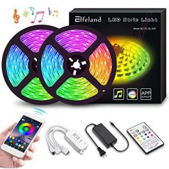 LED Strip Lights, Elfeland 10M 32.8ft 300 LEDs Color Changing Rope Lights 5050 RGB Light Strips with APP Waterproof Tape Lights Sync with Music Apply for Home Kitchen Decoration