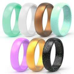 Wooany Silicone Wedding Ring for Women - 5&7 Packs Thin and Stackable Silicone Ring - Confortable and Skin Safe Rubber Wedding Bands for Women&Kids - Designed for U.S
