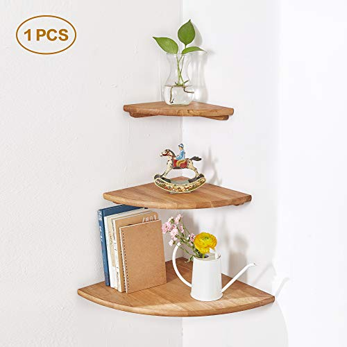 "INMAN Wooden Corner Shelf, 1 Pcs Round End Hanging Wall Mount Floating Shelves Storage Shelving Table Bookshelf Drawers Display Racks Bedroom Office Home Décor Accents (Oak, 7"")"