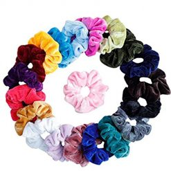 Scrunchies 20 Pcs Velvet Elastics Bobbles Hair Bands Scrunchy Hair Tie Ropes Scrunchie for Women Girls Hair Accessories (Color Random)