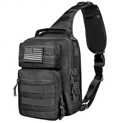 Amazon Coupon Discount Code Deal: NOOLA Sling Bag Pack Tactical Military Chest Backpack Small Padding Pack for iPad with Flag Patch Black