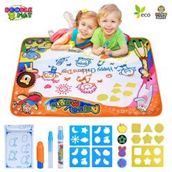 """Amazon Coupon Discount Code Deal: Water Drawing Mat Large Doodle Mat 34.6"""" X 22.8""""in Aqua Magic Doodle Mats Educational Drawing Mat for Painting Writing Learning Toddler Toys Magic Water Canvas Toy Gift Box for Toddlers Age 2 3 4 5 6"""