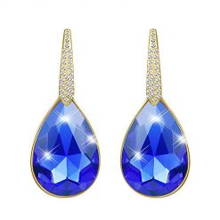 Blue Swarovski Crystal Earrings for Women, Crystal Drop Earrings