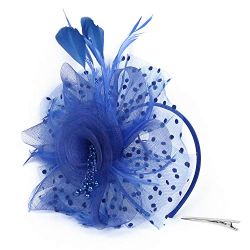 Xflyee Fascinators Hat Flower Mesh Ribbons Feathers Tea Party Cocktail Headband for Girls and Women (Blue / 7 Inch Diameter)