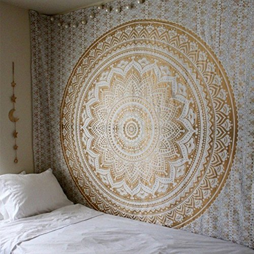 Popular Indian hippie mandala blue tapestry multi-purpose decorative wall hanging,Wall Tapestry (59W×59L, Gold)