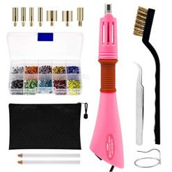 Rhinestone Hotfix Applicator Full Set - DIY Rhinestone Setter Kit Include 7 Different Sizes Tips, Tweezers & Brush Cleaning kit, 2 Pencils, and Hot-Fix Crystal Rhinestones (10 Colors Rhinestone)