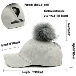 FADA High Bun Ponytail Baseball Hat Slouchy Beanie Chunky Baggy Hat Removable Pompom Winter Hat 2