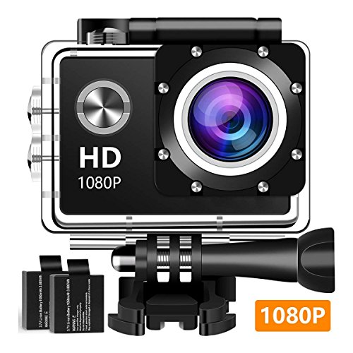 Wuroxa Action Camera 16MP 1080P Underwater Photography Cameras 140 Degree Ultra Wide Angle Lens with 2 Pcs Rechargeable Batteries and Mounting Accessories Kits - Black01