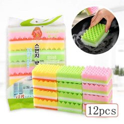 Asatr 12Pcs Household Washing Sponge Home Kitchen Dish Cleaning Tool Scouring Sponge Sponges