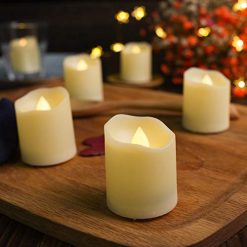 AMAGIC LED Votive Tea Lights with Timer and Remote Control, 3 Flicker Mode Flameless Votive Tealight Candles, 200 Hr. Battery Life, Electric Fake Candle in Amber Yellow Light, Pack of 6