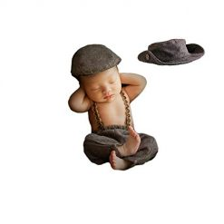 Amazon Coupon Discount Deal: 3pcs Monthly Baby Photography Outfits Newborn Boy Photo Posing Props Crochet Gentleman Rompers Cap Suit