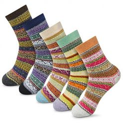 Amazon Coupon Discount Code Deal: Women Winter Socks Novelty Gift Socks Vintage Soft Warm Thick Knit Wool Casual Cozy Crew Socks 5packs