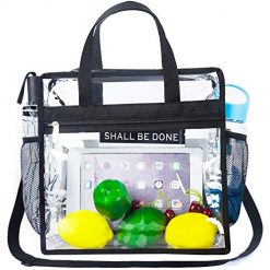"""Songwin Clear Bag NFL & PGA Stadium Approved - The Clear Tote Bag with Adjustable Shoulder Strap and Zipper Closure is Perfect for for Work,School,Sports Games and Concerts.-12"""" X 12"""" X 6"""""""