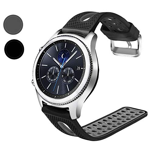 Nigaee 20mm 22mm Silicone Smart Watch Bands Universal Quick Release Replacement Soft Sport Band with Breathable Holes, Contrast Color Straps for Samsung Gear S2 S3 Galaxy Watch -22mm,Black&Grey