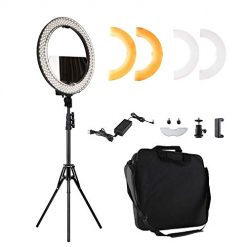 "Ring Light 14"" 55W 2700-5500K Adjustable Colored LED Round Ring Light Kit With Stand Mirror, Warm/White Color Temperature Camera Mirror YouTube Video Makeup Lighting Circle selfie IphoneX/XR/XRMAX 1"