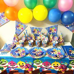 Shark Cute Birthday Decorations, Shark Party Supplies Set, 128 Pieces Shark Party Decoration For Baby Birthday Favor, Ocean Party Decoration, Shark Party Tableware Cake Topper Gift Bag Hat Banner Whistle Dessert Set and Children Carnival Party Supplies Decoration, Doo Doo Decorations Supplies