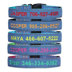 FlowerTown Custom Embroidery Dog Collar,Tough Jeans Personalized Dog Puppy Tag Denim ID Collar with Phone Name for Large Small Dogs