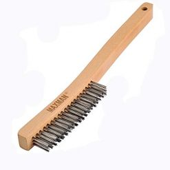 "Wire Brush,Stainless Steel Wire Scratch Brush for Cleaning Rust with 14"" Long Curved Beechwood Handle,Large"
