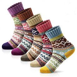 Women Vintage Soft Warm Thick Knit Wool Casual Cozy Crew Socks Vintage Colorful Cute Pattern Socks for Women 5 Pack fits shoe size 5-8