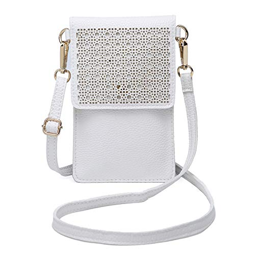 seOSTO Small Crossbody Bag Cell Phone Purse Wallet with 2 Shoulder Strap Handbag for Women(White)