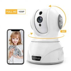 Famisafe Wireless 3MP Security Camera, 360° Rotation WiFi Home Surveillance IP Camera for Baby/Elder/Pet Monitor Pan/Tilt/Zoom Two-Way Audio & Night Vision Works with Alexa (for Android & iOS) - white